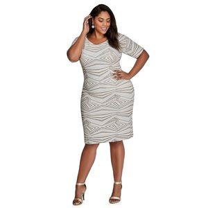 Ashley Stewart Dresses | Metallic Glitter Geopattern Plus Size Dress ...